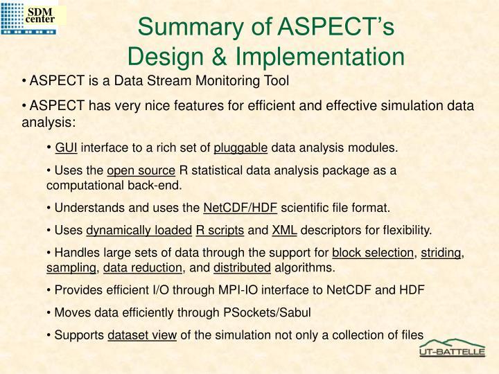 Summary of ASPECT's