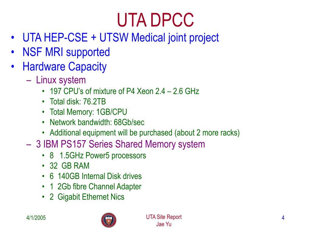 PPT - UTA Site Report PowerPoint Presentation - ID:4040688