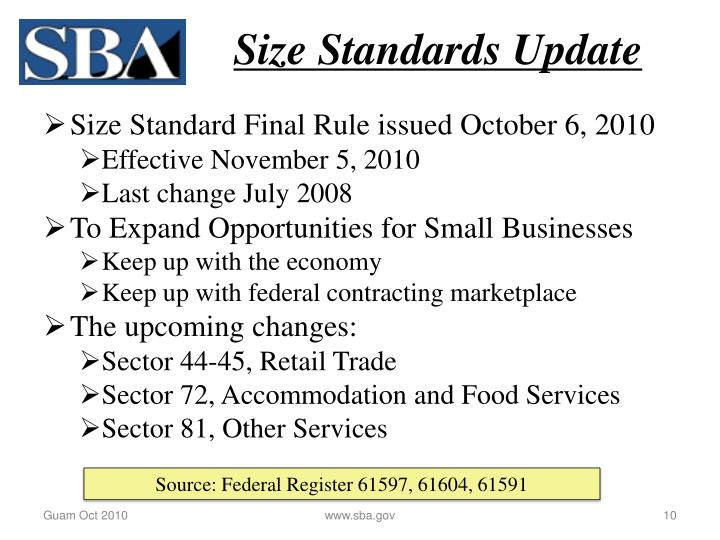 Size Standards Update