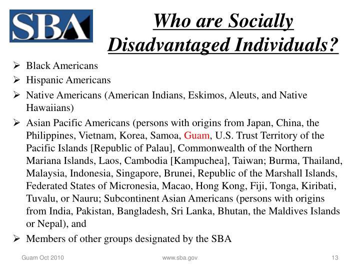 Who are Socially Disadvantaged Individuals?