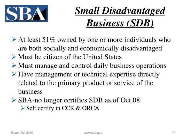 Small Disadvantaged Business (SDB)
