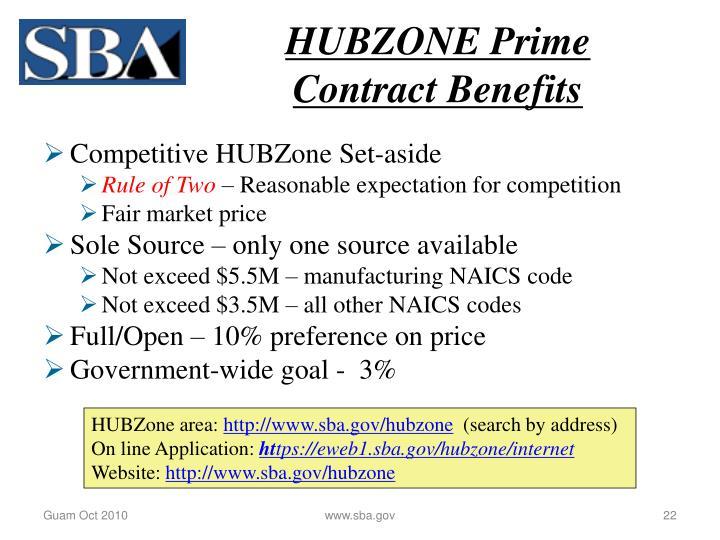 HUBZONE Prime Contract Benefits
