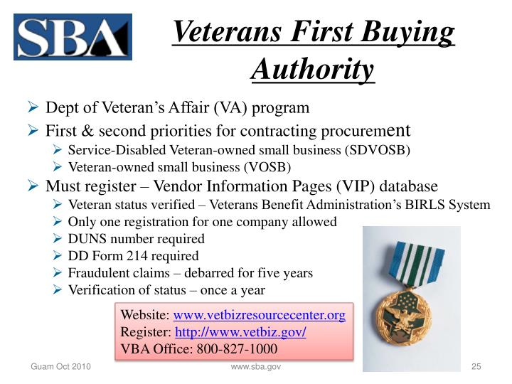 Veterans First Buying Authority