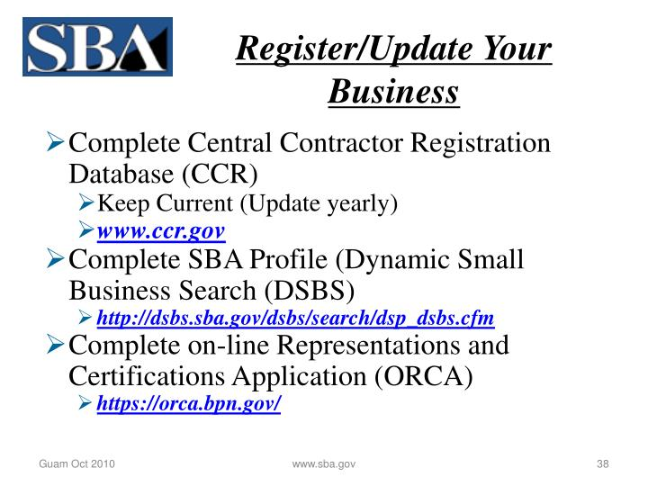 Register/Update Your Business