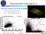 measurements with high et e1
