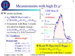 measurements with high et m2