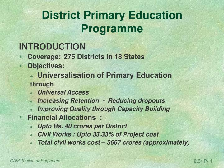 district primary education programme n.