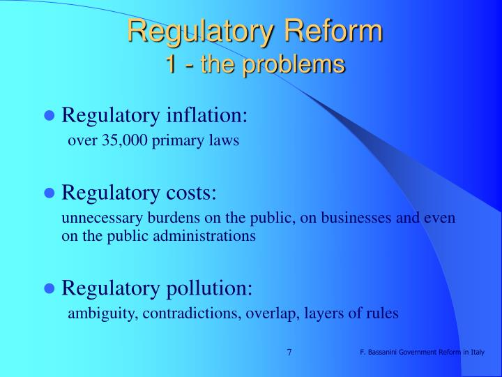 the problems of regulations