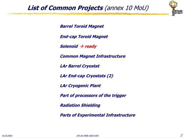 List of common projects annex 10 mou