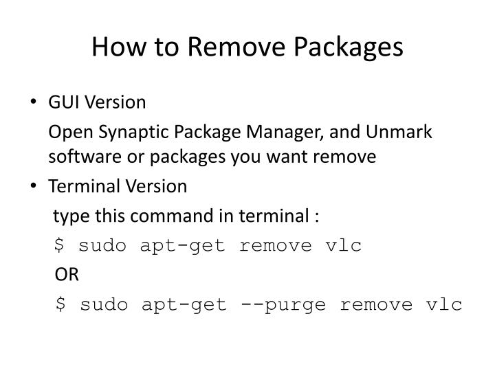 How to Remove Packages