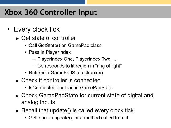 Xbox 360 Controller Input