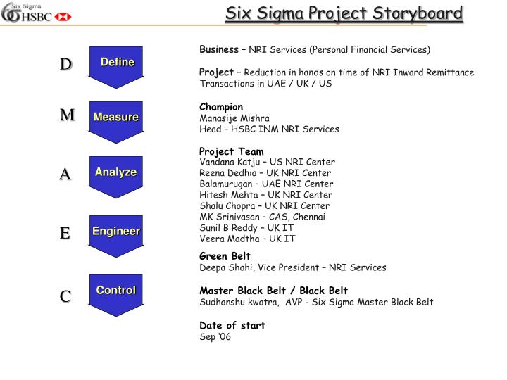 Ppt Six Sigma Project Storyboard Powerpoint Presentation