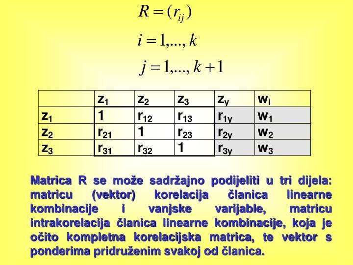 Matrica R se može