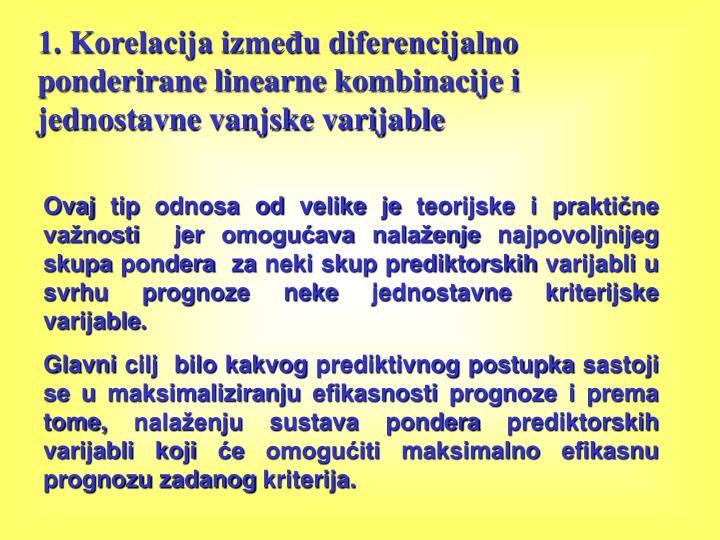 1. Korelacija između diferencijalno ponderirane linearne kombinacije i jednostavne vanjske varijable