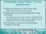relationship among voltage current and resistance