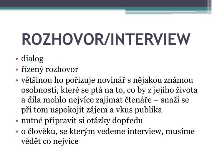 ROZHOVOR/INTERVIEW