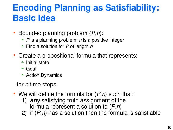 Encoding Planning as Satisfiability: Basic Idea