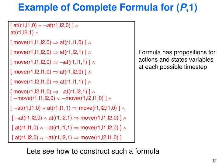 Example of Complete Formula for (