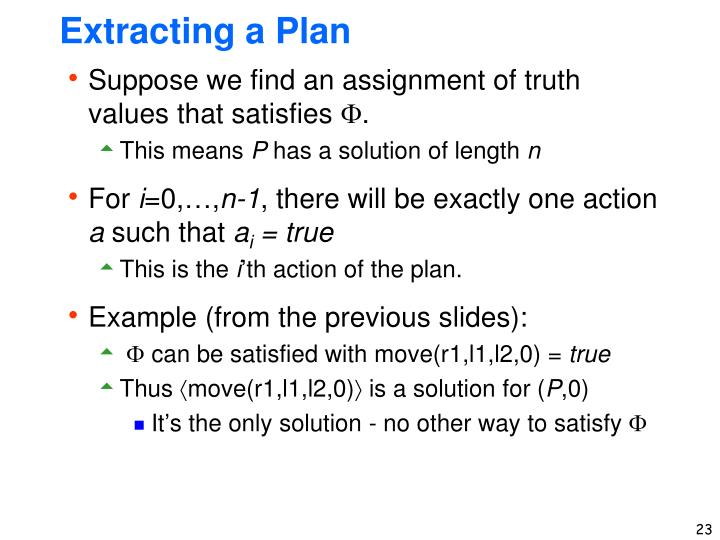 Extracting a Plan