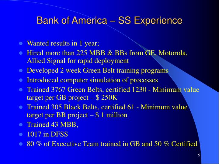 Bank of America – SS Experience
