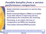 possible benefits from a service performance comparison