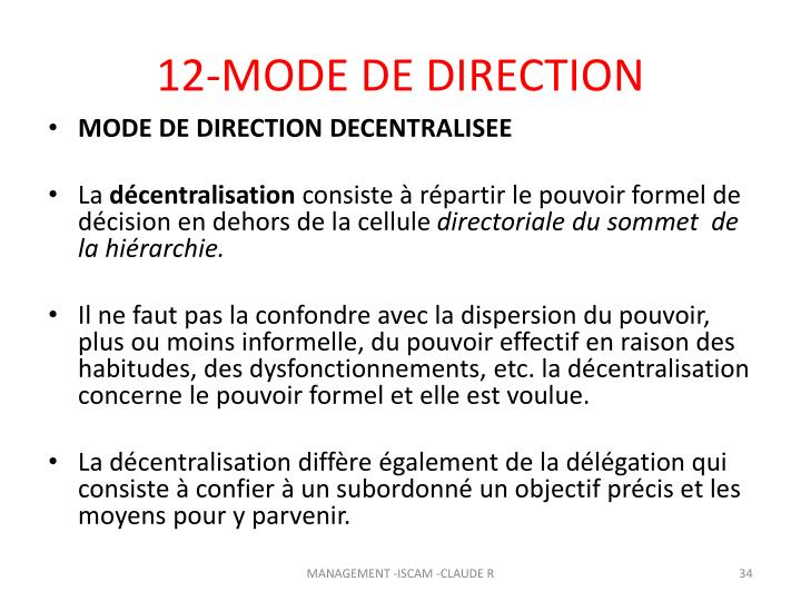 12-MODE DE DIRECTION