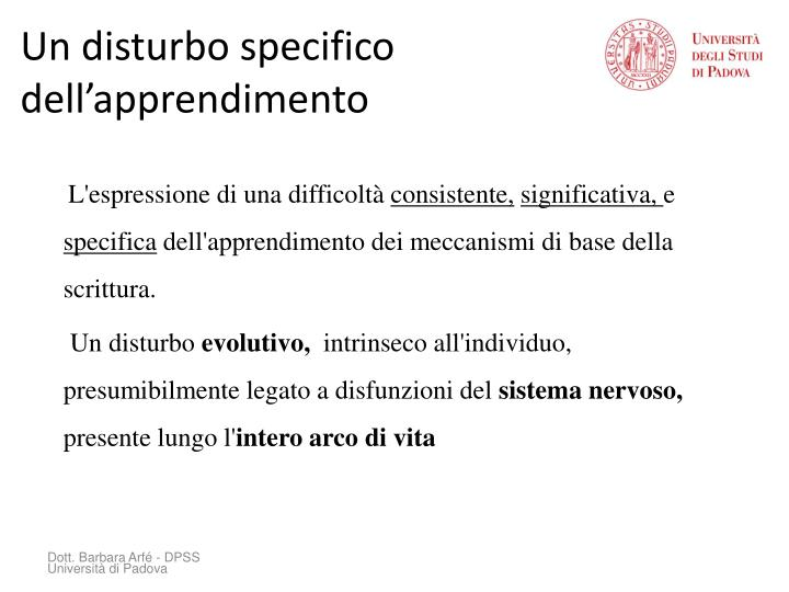 Un disturbo specifico dell'apprendimento