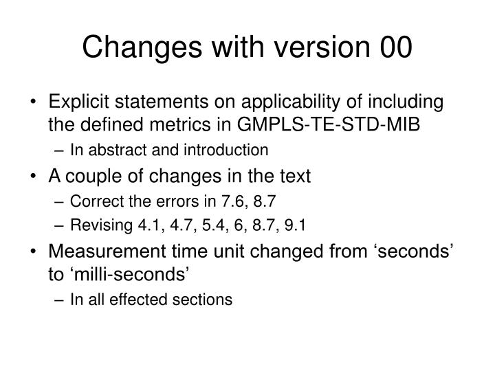 Changes with version 00