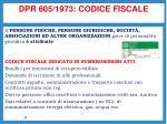 dpr 605 1973 codice fiscale