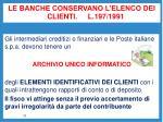 le banche conservano l elenco dei clienti l 197 1991
