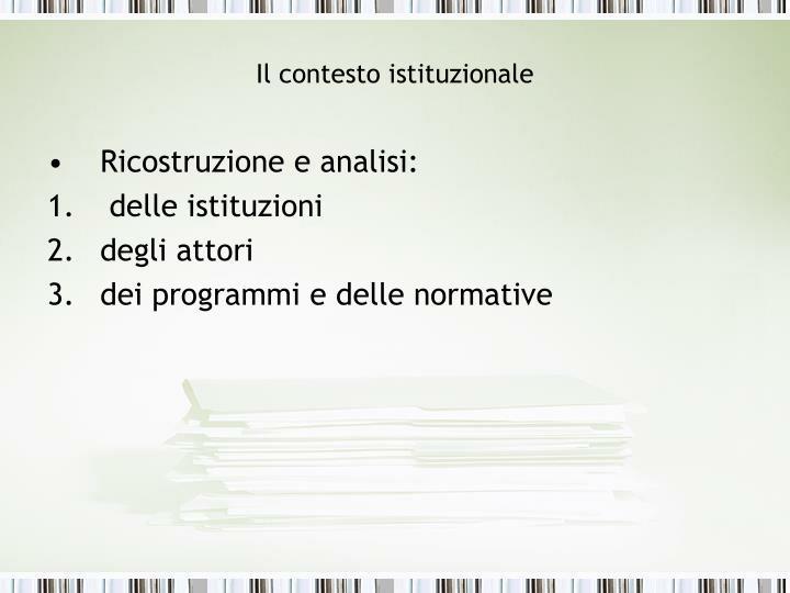 Il contesto istituzionale2
