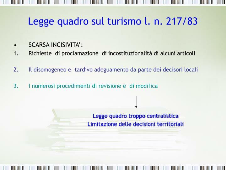 Legge quadro sul turismo l. n. 217/83