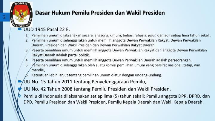 Dasar hukum pemilu presiden dan wakil presiden