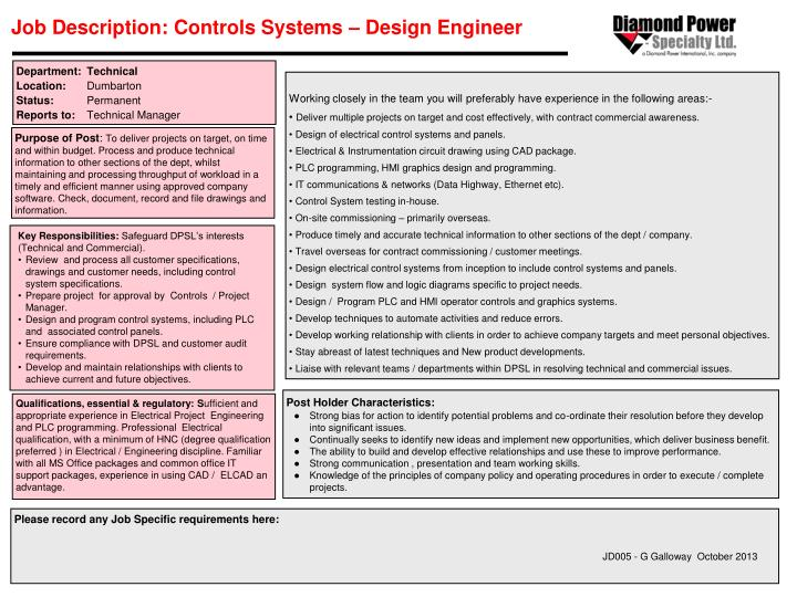 Ppt Job Description Controls Systems Design Engineer Powerpoint Presentation Id 4042805