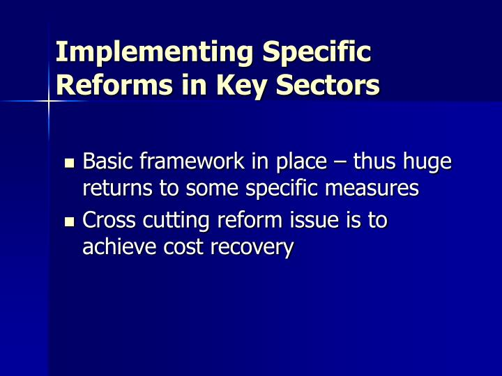 Implementing Specific Reforms in Key Sectors