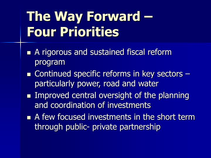 The Way Forward – Four Priorities