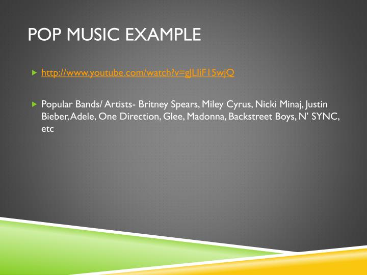 Pop music example
