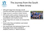 the journey from the south to new jersey
