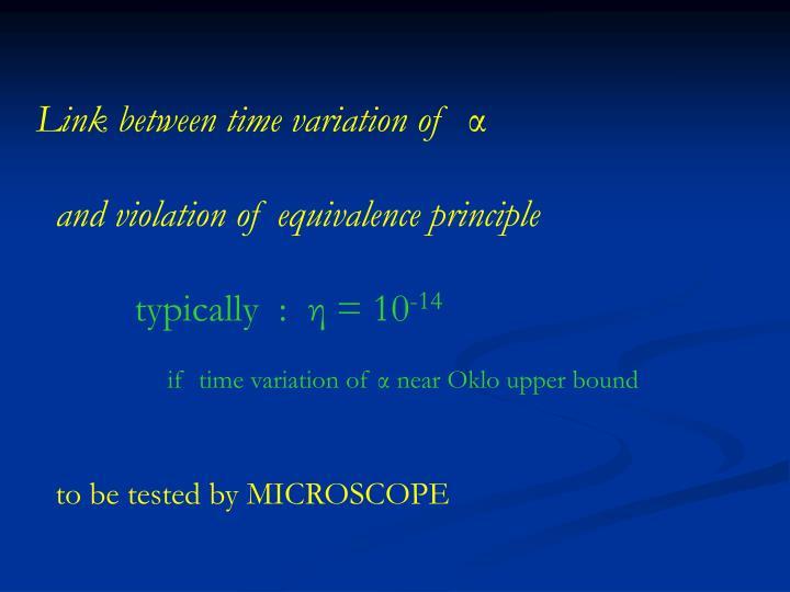 Link between time variation of