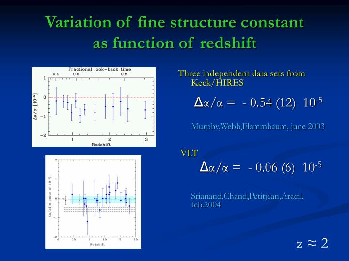 Variation of fine structure constant