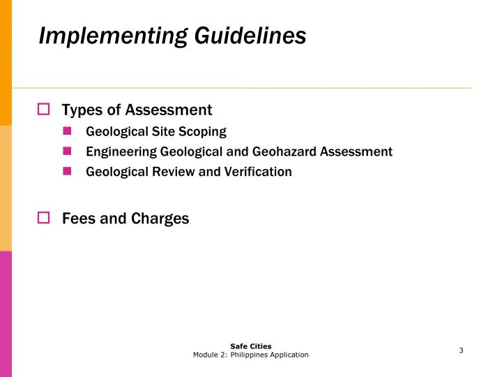 Implementing guidelines