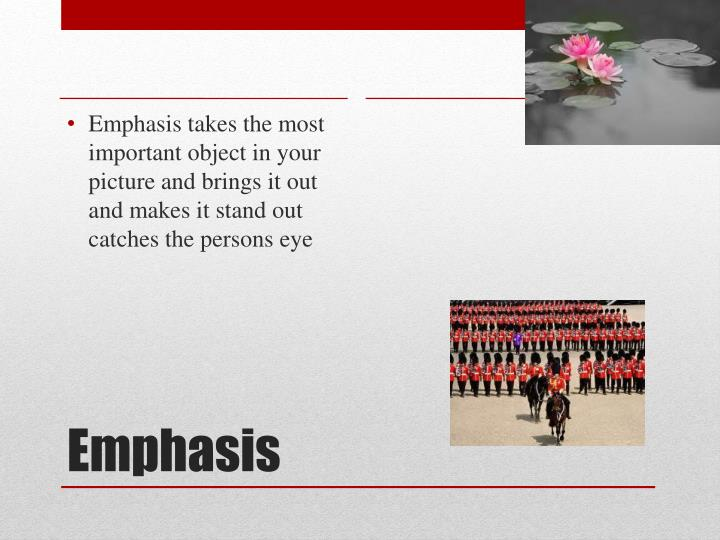 Emphasis takes the most important object in your picture and brings it out and makes it stand out catches the persons eye