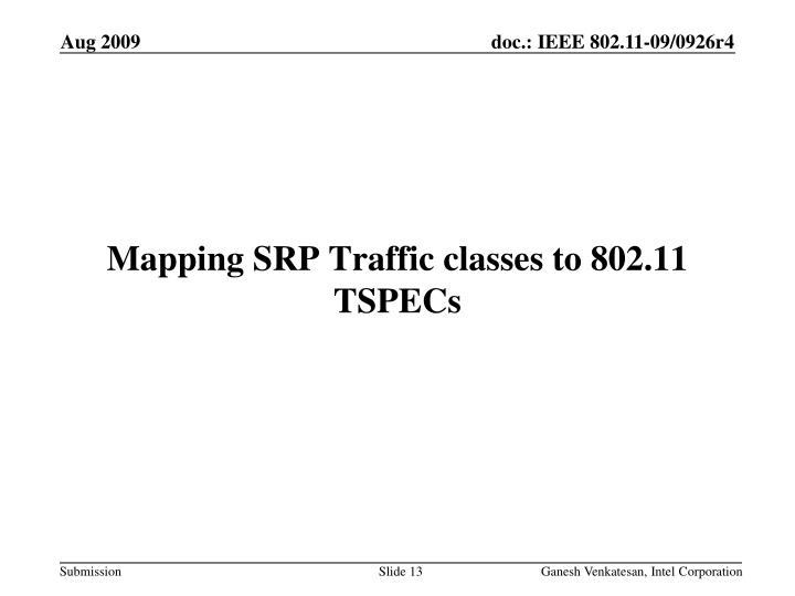 Mapping SRP Traffic classes to 802.11 TSPECs
