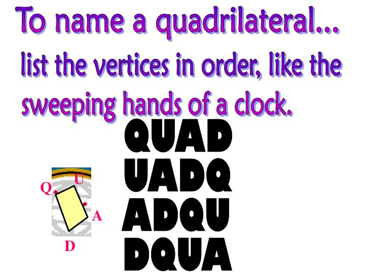 To name a quadrilateral...