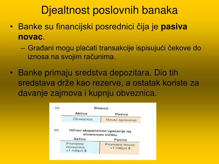 Djealtnost poslovnih banaka