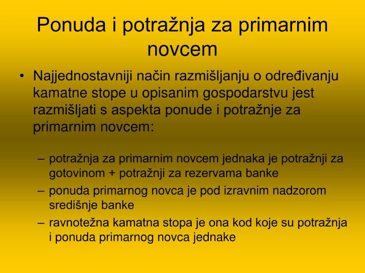 Ponuda i potražnja za primarnim novcem