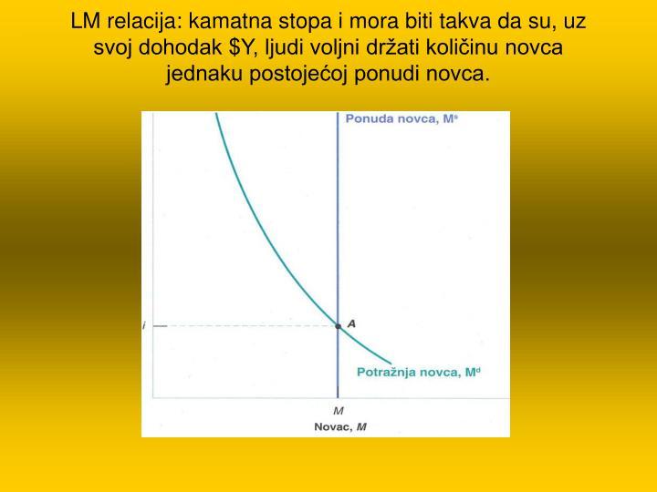 LM relacija: kamatna stopa i mora biti takva da su, uz svoj dohodak $Y, ljudi voljni držati količinu novca jednaku postojećoj ponudi novca.