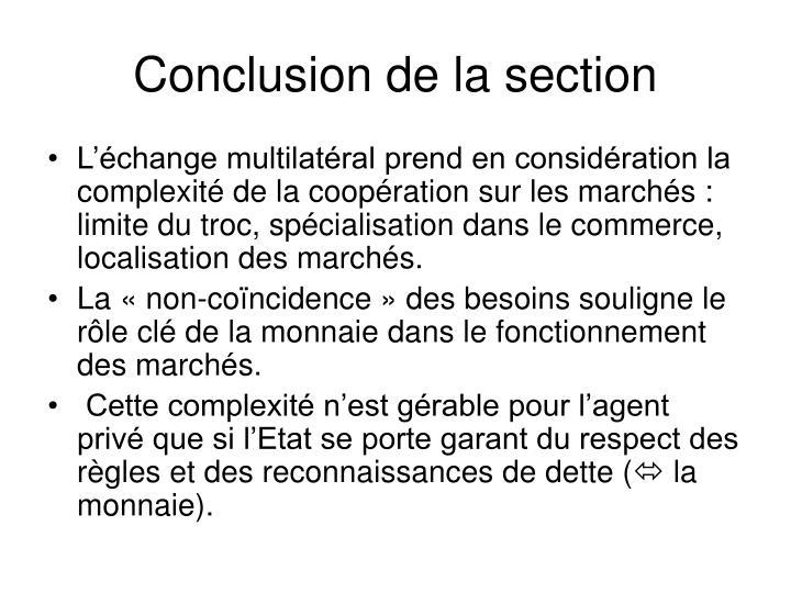 Conclusion de la section