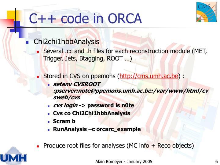 C++ code in ORCA