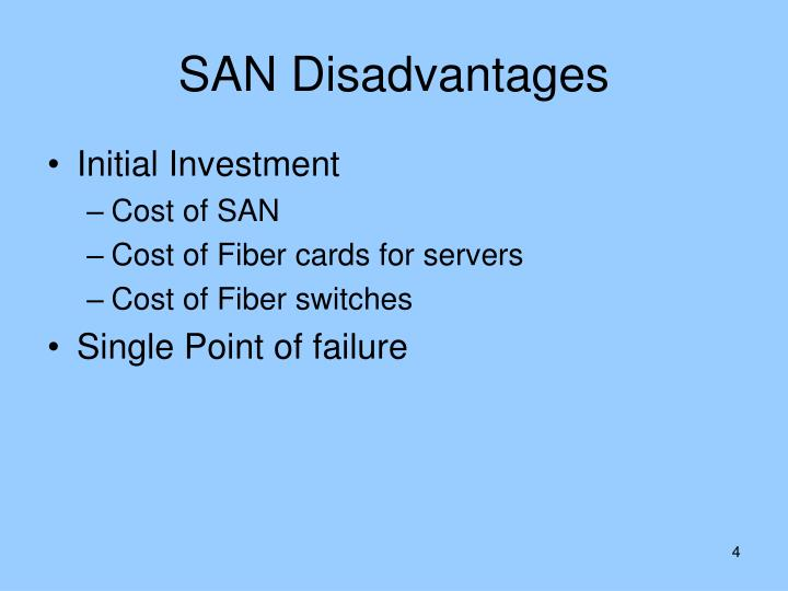 SAN Disadvantages